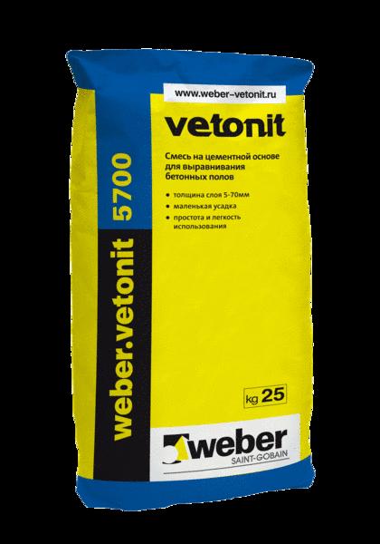 Weber Vetonit 5700 Выравнивающая смесь для пола (5 - 70мм)(25 кг)